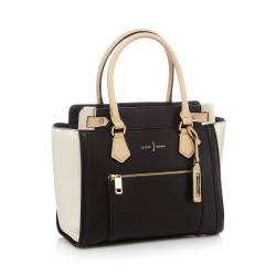 Black colour block tote bag