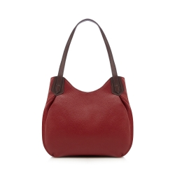 Red buckled shoulder bag