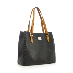Black textured shopper bag