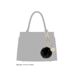 Dune Black cube pom pom and min bag keyring