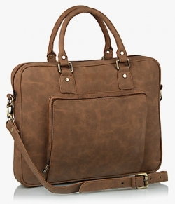 GAUGE MACHINE Brown Leather Laptop Bag