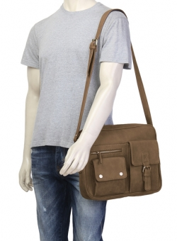 GAUGE MACHINE Brown Leather Messenger Bag
