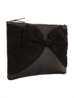 V by Very Suedette Knot Bow Clutch Bag