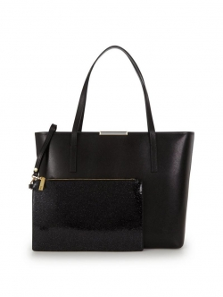 Crosshatch Shopper with Inner Glitter Purse - Black