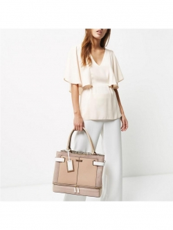 River Island Large Zip Bottom Tote - Neutral
