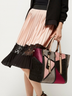 River Island Boucle Patchwork Tote Bag