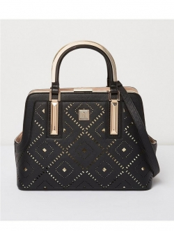 Island Metal Handle Lady Tote - Black