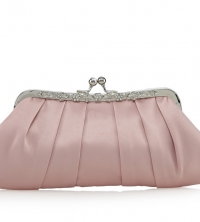Pink satin  clutch bag