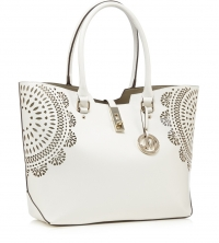 White flower cut-out shopper bag