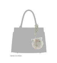 Dune Grey Cat ear  pom pom bag charm