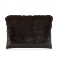 Faux Fur Top Envelope Clutch Bag